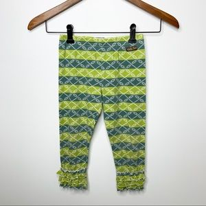 MATILDA JANE Girls Green Striped Ruffle Leggings 6